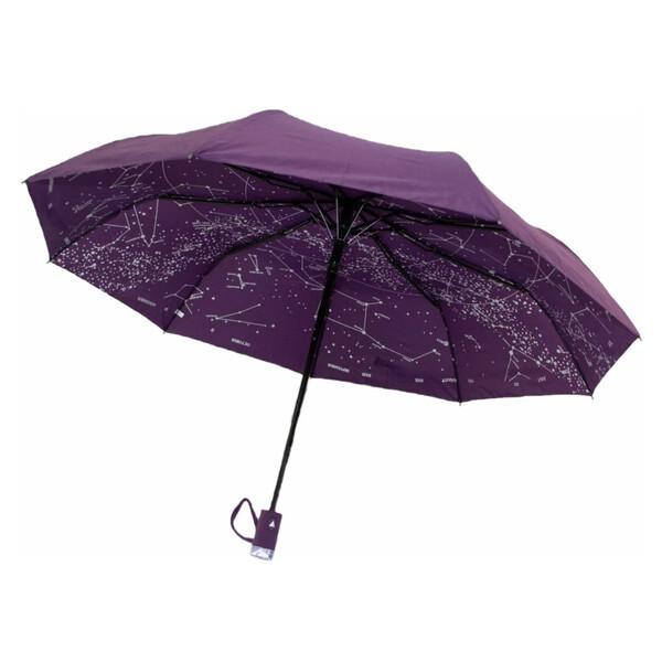 Жіночий напівавтомат зонт з внутрішнім малюнком Зоряне небо складаний Фіолетовий Lantana (712/2)