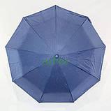 Жіночий напівавтомат зонт з подвійним куполом Fiaba складаний красивий з квітами всередині 9 спиць Синій 7928, фото 3