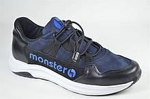 Підліткові шкіряні кросівки сині Monster ХАН