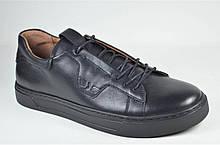 Мужские спортивные туфли кожаные кеды черные Safari 812 - 0 - 101