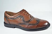 Мужские кожаные туфли броги рыжие L-Style 1260 - 1