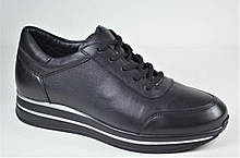 Женские стильные кожаные кроссовки черные Corso Vito 02 - 1013838