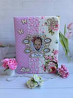 Детский альбом фотоальбом для новорожденной девочки ручной работы с мамиными заметками и фото + Метрик с фото