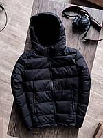 Куртка чоловіча на блискавці з капюшоном чорна. Стильна чоловіча базова вітровка чорного кольору., фото 1