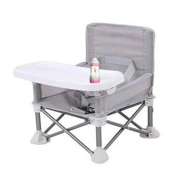 Складаний тканинний стіл для годування baby seat сірий зручний і компактний стіл