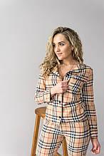 Женская пижама с штанами  в клетку V.Velika. 9 расцветок