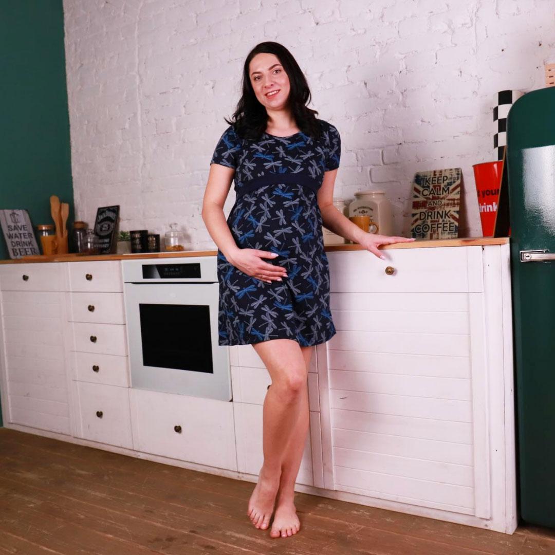 """Нічна сорочка для вагітних бавовняна з коротким рукавом синя """"Бабка"""""""