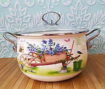 Глубокая кухонная эмалированная кастрюля с крышкой 5 л, А-плюс| Каструля белая с цветочным декором| Каструля |