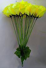 Искусственные цветы Розы 20 шт желтые