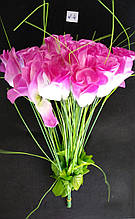 Искусственные цветы Розы 20 шт бело-сиреневые