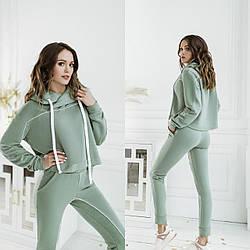 Женский прогулочный костюм-двойка: штаны и кофта с капюшоном Diva PT-164green