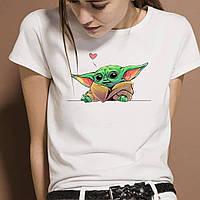 """Женская футболка с принтом """"Маленький Йода с сердцем"""" Push IT"""