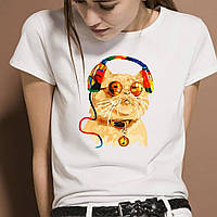 """Женская футболка с принтом """"Кот в наушниках"""" Push IT"""