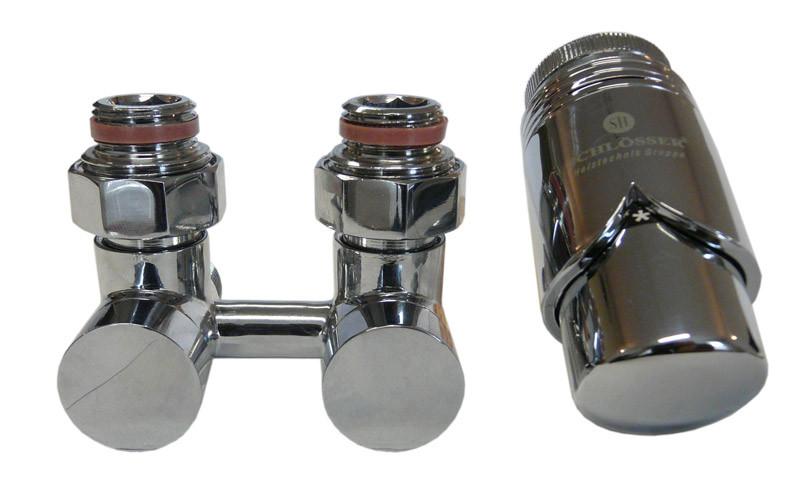 Комплект узел нижнего подключения угловой хром Schlosser