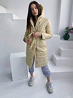 Женская стильная удлиненная куртка с капюшоном, фото 1