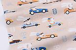 """Лоскут сатина """"Зайцы в гоночных машинках"""", цвет бежевый, №2597с размер 50*60 см, фото 4"""
