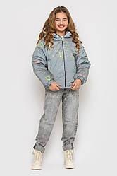 Детская куртка демисезонная для девочки, двусторонняя, светоотражающая ткань, Трикси, на рост 128-158