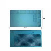 Силиконовый коврик для ремонта телефонов 38 x 21см (Голубой)