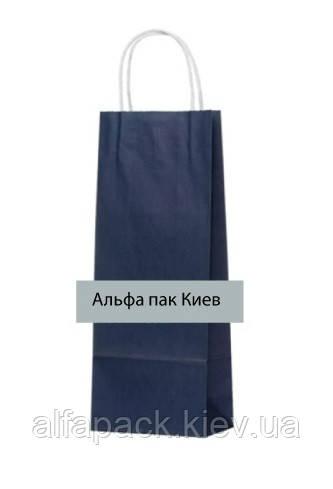 Пакет паперовий з крученими ручками темно-синій 150х90х390 мм, упаковка