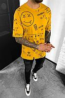 Футболка жовта оверсайз чоловіча з принтом та надписом Мужская оверсайз футболка жёлтая молодёжная с рисунком