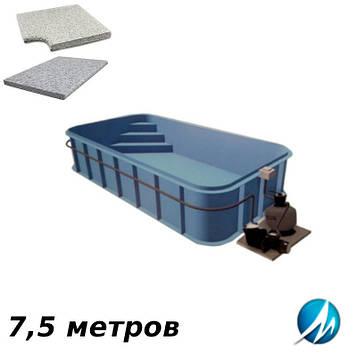 Комплект для отделки борта полипропиленового бассейна 7,5 м копинговым камнем