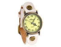 Аналоговые часы в стиле ретро с круглым циферблатом и ремешком из PU кожи  (белый, красный, коричневый)