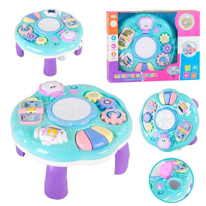 """Игровой столик """"Музичнні пригоди"""" UKA-A0101 на ножках, 2 в 1, подвеска, звук, свет, укр."""