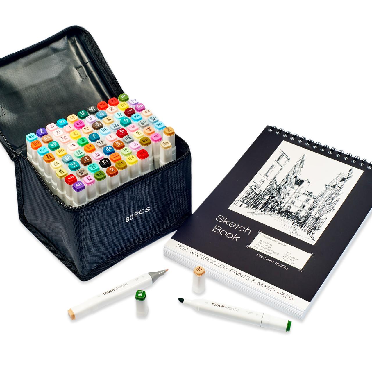 Профессиональные двухсторонние спиртовые маркеры для художников Touch Smooth 80 шт + Скетчбук 50 листов А4
