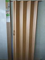 Двері-ширма-гармошка Сосна Медова 820х2030х0,6 мм №10 міжкімнатні пластикова глуха, фото 1