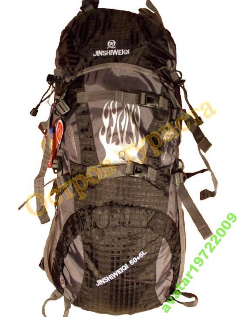 Рюкзак туристический JINSHIWEIQI 50+5 литров каркасный черный