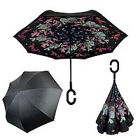 Женский зонт-полуавтомат / антизонт обратного сложения Feeling Rain с принтом мелких цветочков, OS-05B-1