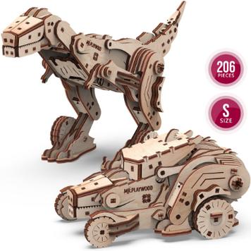 """Іграшка механічна дерев'яна 3D-модель """"Трансформер. Динокар"""" №10105/ПлейВуд/"""