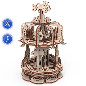 """Механічна Іграшка дерев'яна яна 3D-модель """"Карусель""""S"""" №10404/ПлейВуд/"""