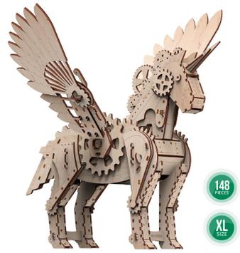 """Іграшка механічна дерев'яна 3D-модель """"Механічний єдиноріг""""S"""" №10604/ПлейВуд/"""