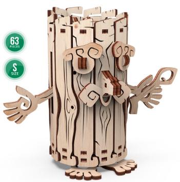 """Іграшка механічна дерев'яна 3D-модель """"Лісовичок-скарбничка"""" №10605/ПлейВуд/"""