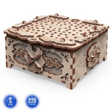 """Іграшка механічна дерев'яна 3D-модель """"Шкатулка. Квіткова Фантазія""""в кор-ці№10607/ПлейВуд/"""