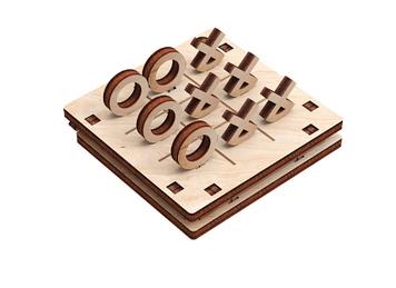 """Іграшка дерев'яна 3D-модель """"Гра. Хрестики нолики"""" №2 №10305/ПлейВуд/"""