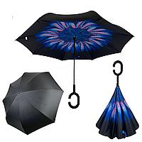 Женский зонт-полуавтомат / антизонт обратного сложения Feeling Rain с синим цветком, OS-05B-2