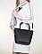 Женская итальянская натуральная кожаная сумка черная 25х22х12, фото 2