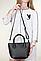 Женская итальянская натуральная кожаная сумка черная 25х22х12, фото 5