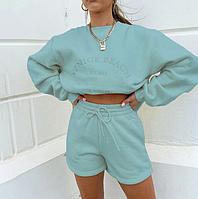 Женский спортивный костюм. Утепленная свободная толстовка, шорты с высокой талией ., фото 1