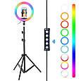Кільцева світлодіодна лампа 36см RGB USB - для Селфі Блогера - з Тримачем для телефону (1017), фото 5