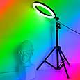 Кільцева світлодіодна лампа 36см RGB USB - для Селфі Блогера - з Тримачем для телефону (1017), фото 9