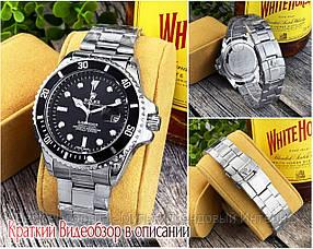 Годинники чоловічі наручні кварцові Rolex Submariner 2128 Quarts Silver-Black Репліка Ролекс