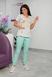 Жіночий медичний костюм Асія салатовий 44-54