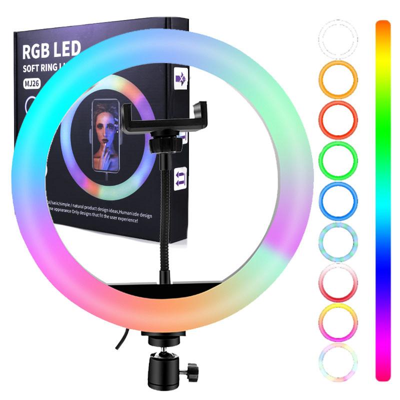 Кільцева світлодіодна лампа 36см RGB USB - для Селфі Блогера - з Тримачем для телефону (1017)