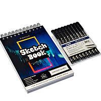 Набор для скетчей, Скетчбук для рисования на 50 листов А5 + набор черных профессиональных лайнеров 9 шт.