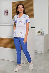 Жіночий медичний костюм Асія блакитний 44-54