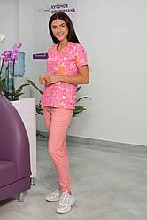 Жіночий медичний костюм Асія рожевий 44-54
