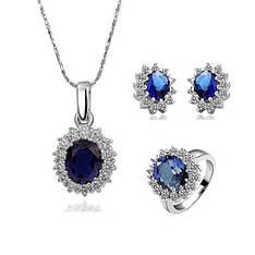 """Набір жіночої біжутерії з синіми каменями """"Леді Ді"""" кольє, сережки, кільце"""